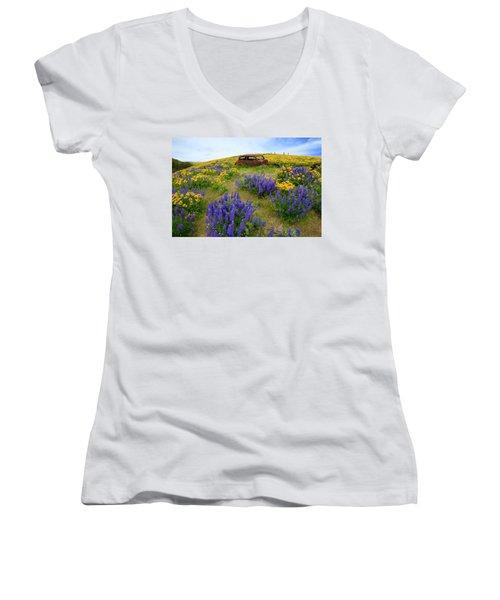 Columbia Hills Wildflowers Women's V-Neck T-Shirt (Junior Cut) by Lynn Hopwood