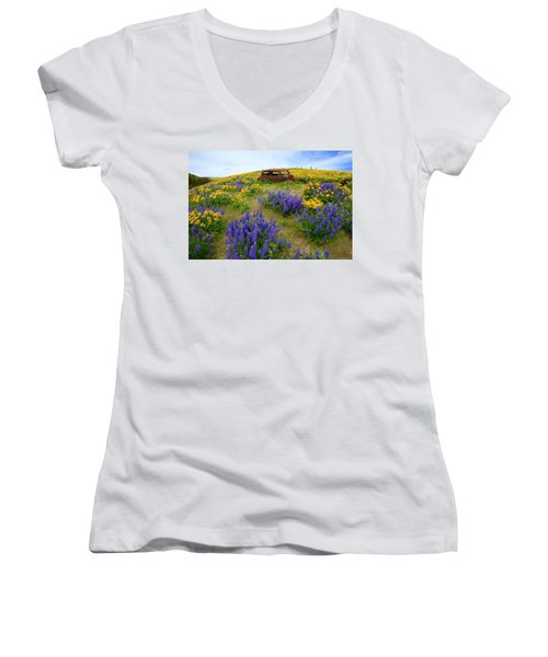 Columbia Hills Wildflowers Women's V-Neck (Athletic Fit)