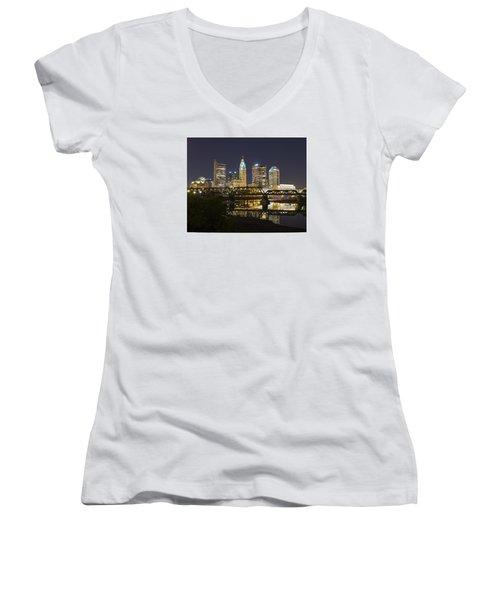 Columbus Skyline 2 Women's V-Neck T-Shirt (Junior Cut) by Alan Raasch