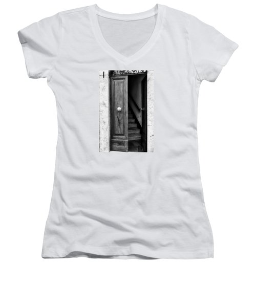 Come On In Women's V-Neck T-Shirt (Junior Cut) by Deborah Scannell