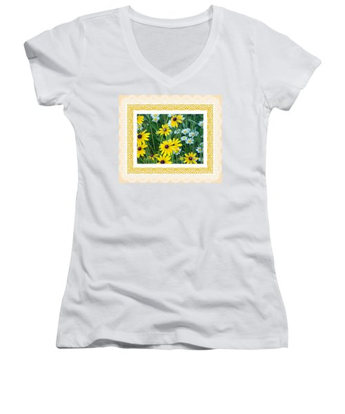 Coming Up Daisies Orange Women's V-Neck (Athletic Fit)