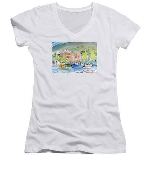 Women's V-Neck featuring the painting Fishing Boats In Hobart's Victoria Dock by Dorothy Darden