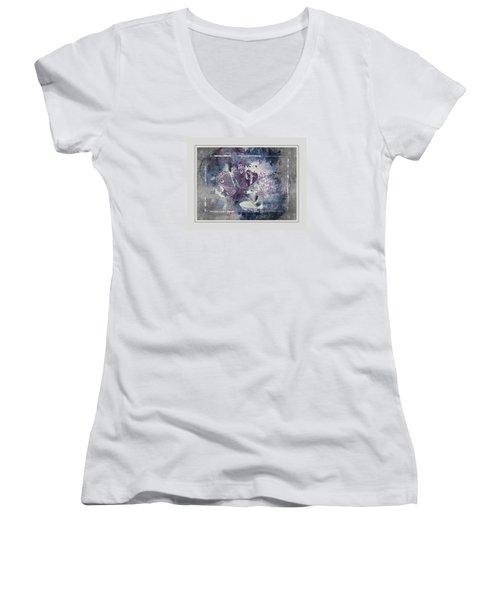Common Buckeye In Blues Women's V-Neck T-Shirt