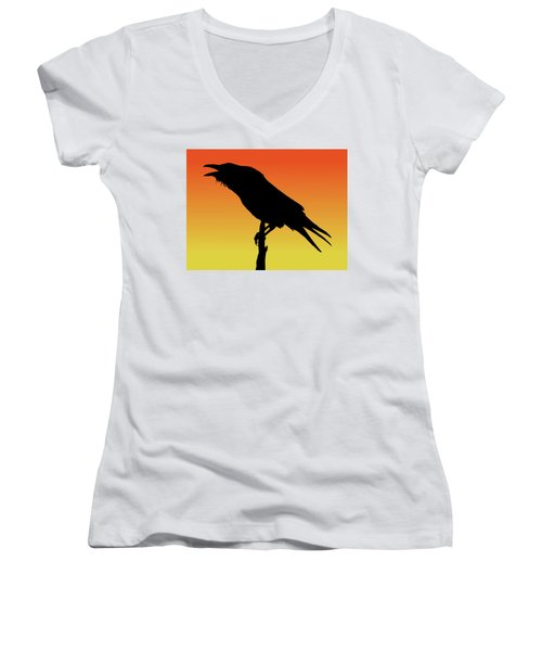 Common Raven Silhouette At Sunset Women's V-Neck (Athletic Fit)