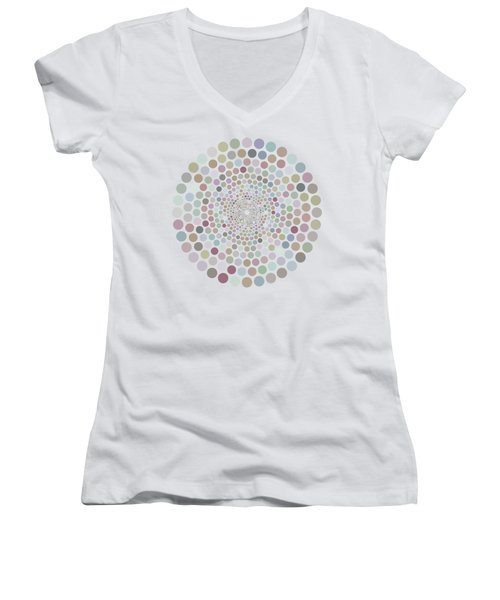 Women's V-Neck T-Shirt (Junior Cut) featuring the painting Vortex Circle - White by Hailey E Herrera