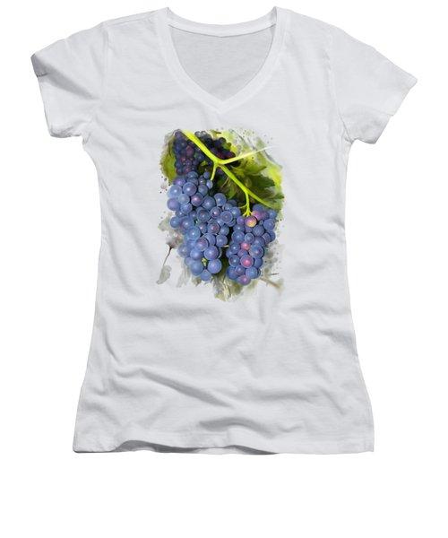 Concord Grape Women's V-Neck T-Shirt (Junior Cut) by Ivana Westin