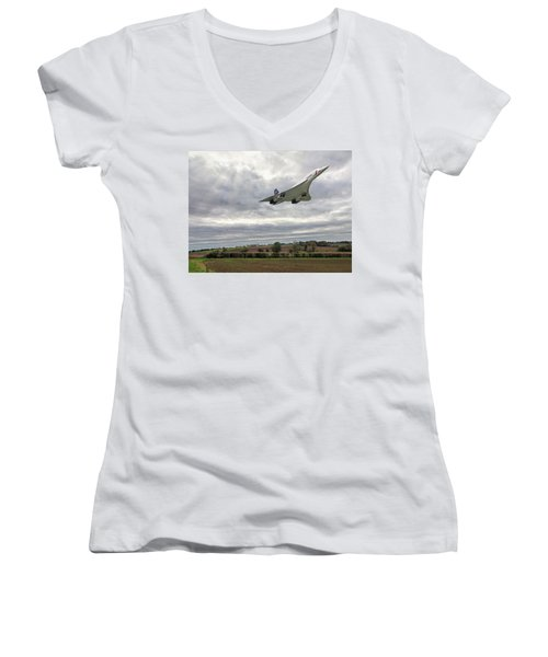 Concorde - High Speed Pass Women's V-Neck T-Shirt (Junior Cut) by Paul Gulliver