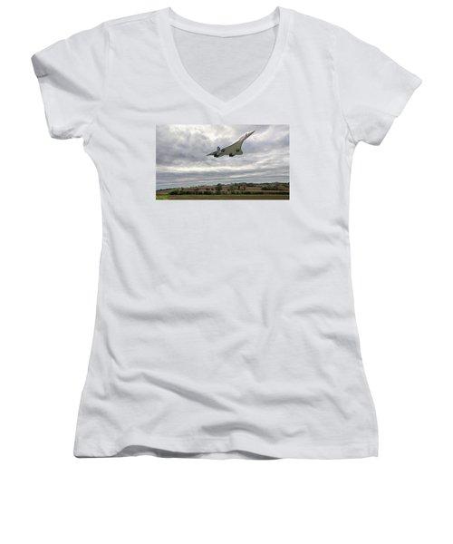 Concorde - High Speed Pass_2 Women's V-Neck T-Shirt (Junior Cut) by Paul Gulliver