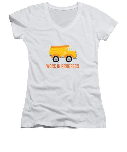 Construction Zone - Dump Truck Work In Progress Gifts - Yellow Background Women's V-Neck T-Shirt