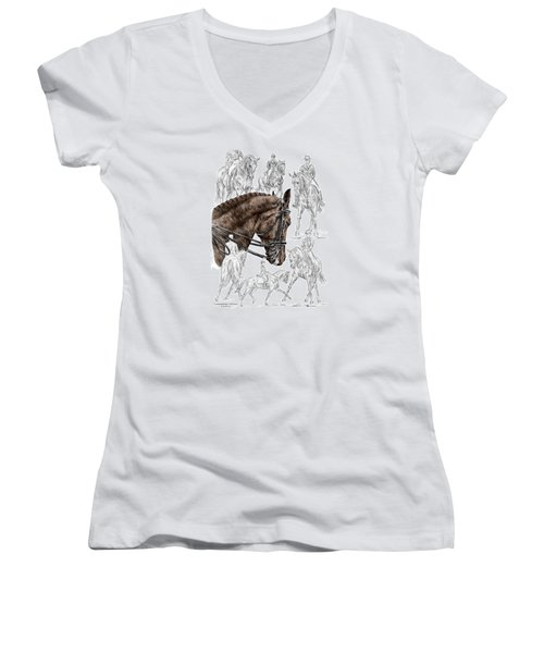 Contemplating Collection - Dressage Horse Print Color Tinted Women's V-Neck (Athletic Fit)