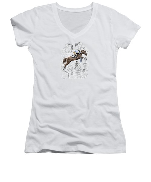 Contemplating Flight - Horse Jumper Print Color Tinted Women's V-Neck (Athletic Fit)