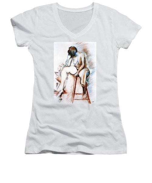 Contemplation - Nude On A Stool Women's V-Neck T-Shirt (Junior Cut)