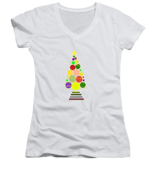Contemporary Christmas Women's V-Neck T-Shirt (Junior Cut) by Kathleen Sartoris