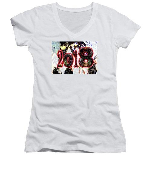 Contemporary Fireworks 2018 Cool Modern Art Women's V-Neck T-Shirt