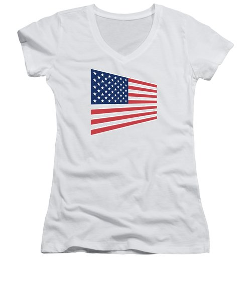 Contemporaryusa Flag Women's V-Neck (Athletic Fit)