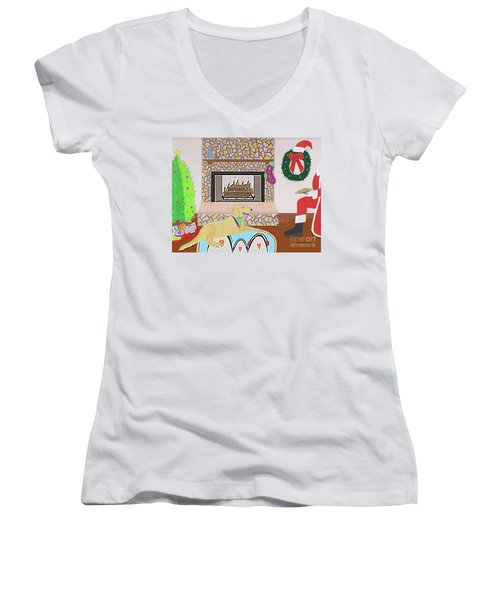 Women's V-Neck featuring the drawing Cookies For Banjo by John Wiegand