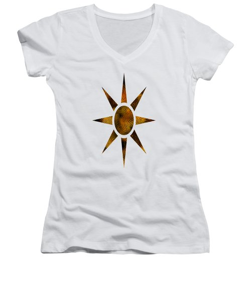 Copper Spirals Abstract Square Women's V-Neck