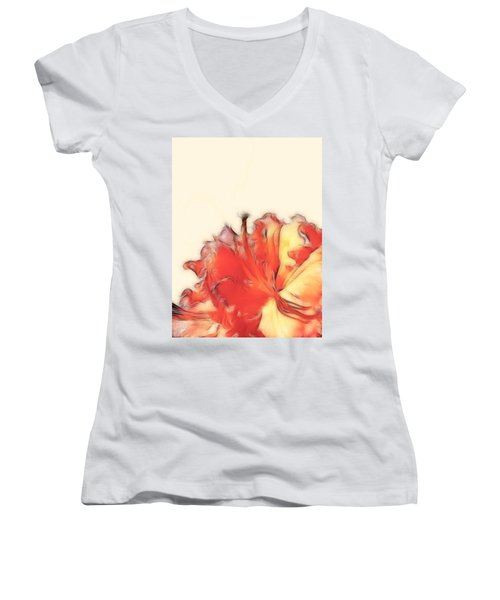 Coral Rhododendron Women's V-Neck T-Shirt (Junior Cut) by Lynn Bolt