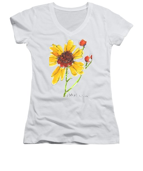 Coreopsis By Kathleen Mcelwaine Women's V-Neck T-Shirt