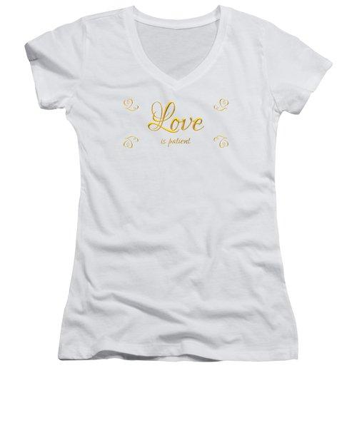 Corinthians Love Is Patient Women's V-Neck (Athletic Fit)