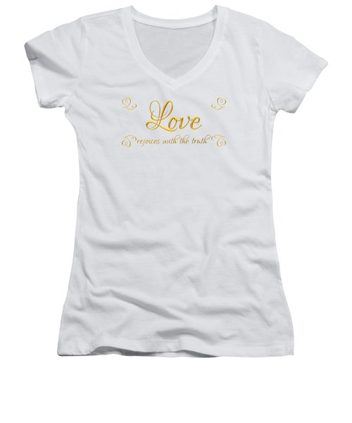Corinthians Love Rejoices With The Truth Women's V-Neck