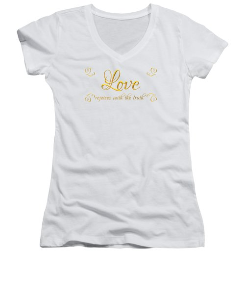 Corinthians Love Rejoices With The Truth Women's V-Neck T-Shirt