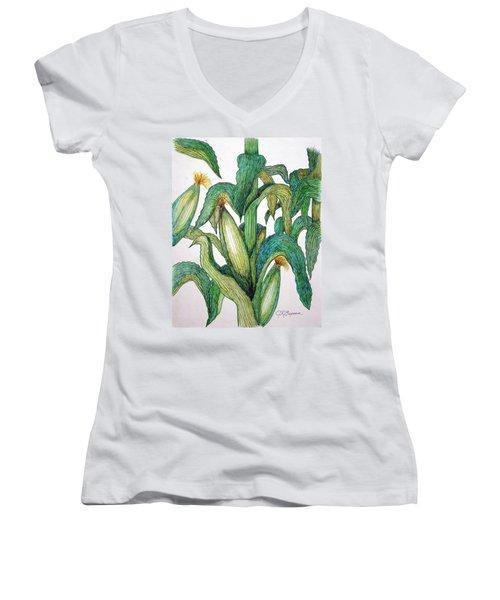 Corn And Stalk Women's V-Neck T-Shirt (Junior Cut) by J R Seymour