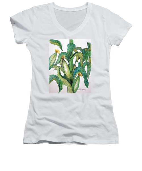 Corn And Stalk Women's V-Neck (Athletic Fit)