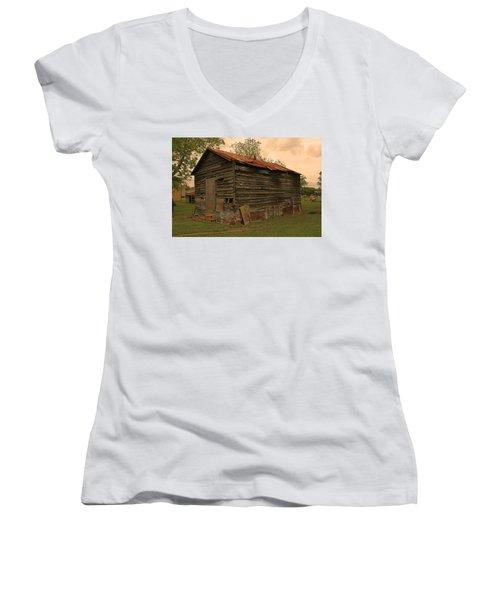 Corn Shed Women's V-Neck T-Shirt (Junior Cut) by Ronald Olivier