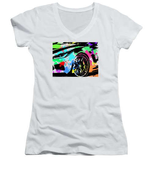 Corvette Pop Art 3 Women's V-Neck (Athletic Fit)