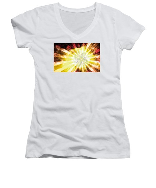 Cosmic Solar Flower Fern Flare 2 Women's V-Neck T-Shirt (Junior Cut) by Shawn Dall