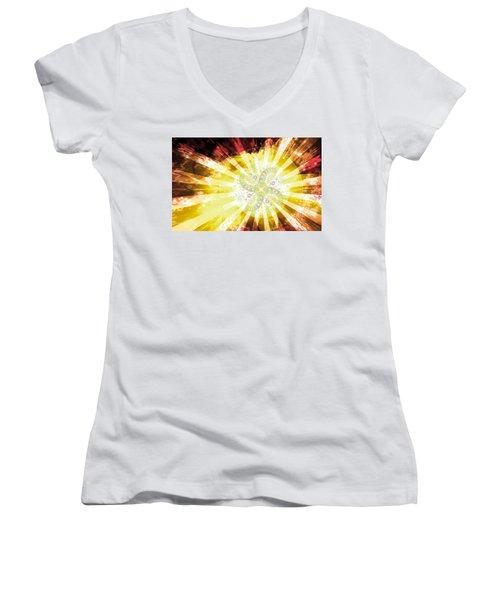 Cosmic Solar Flower Fern Flare 2 Women's V-Neck
