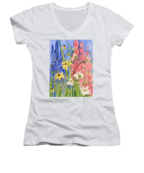 Cottage Garden Daisies And Blue Skies Women's V-Neck T-Shirt (Junior Cut) by Laurie Rohner