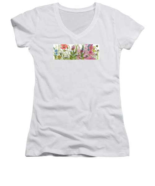 Cottage Hollyhock Garden Women's V-Neck