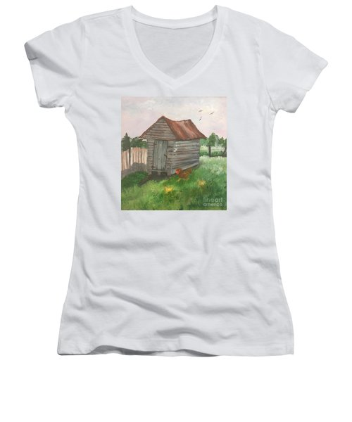 Women's V-Neck T-Shirt (Junior Cut) featuring the painting Country Corncrib by Lucia Grilletto