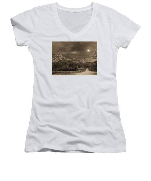 Women's V-Neck T-Shirt (Junior Cut) featuring the photograph Country Moonlight by Beto Machado