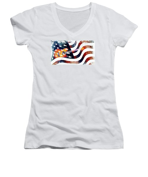 Country Music Guitar And American Flag Women's V-Neck T-Shirt (Junior Cut) by Annie Zeno
