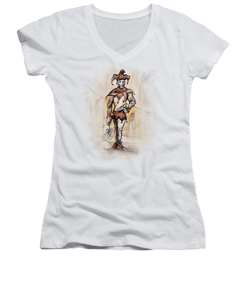 Court Jester Women's V-Neck T-Shirt (Junior Cut) by Kevin Middleton