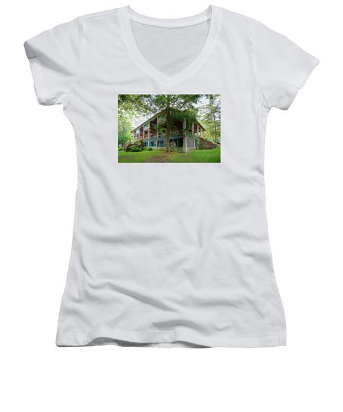Women's V-Neck T-Shirt featuring the photograph Covewood Lodge On Big Moose Lake by David Patterson