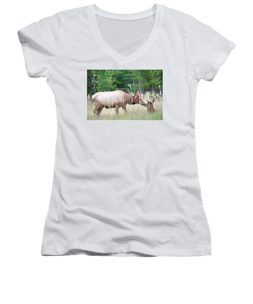 Cow Elk And Spring Baby Women's V-Neck T-Shirt