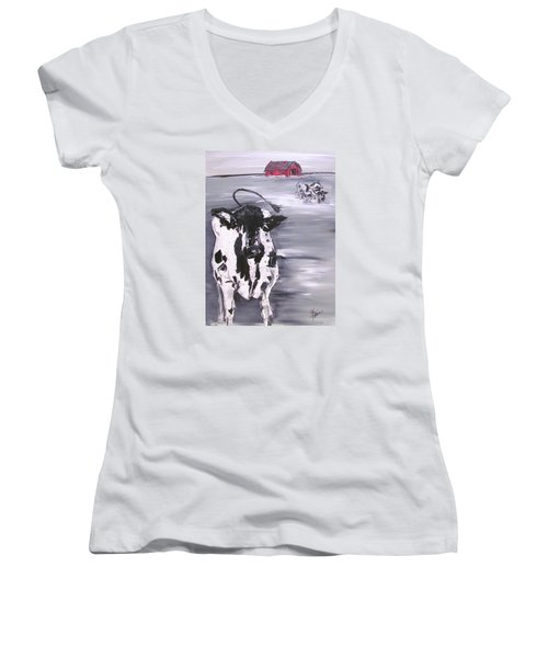 Cow In Winter Women's V-Neck (Athletic Fit)