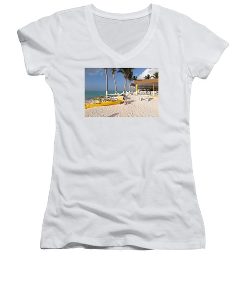 Women's V-Neck T-Shirt (Junior Cut) featuring the photograph Cow Wreck Bay Beach Bar 2 by Eric Glaser
