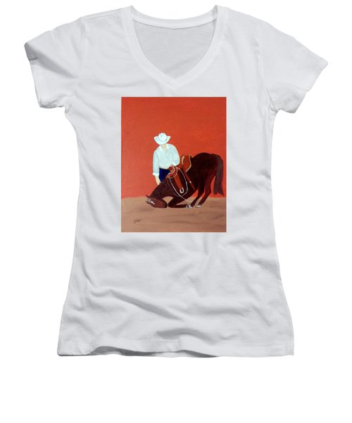 Cowboy And His Horse Women's V-Neck T-Shirt