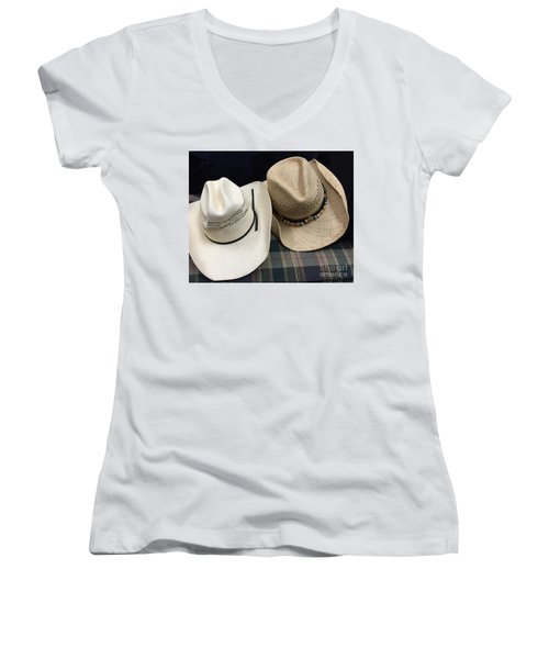Cowboy Hats Women's V-Neck T-Shirt (Junior Cut) by Renie Rutten