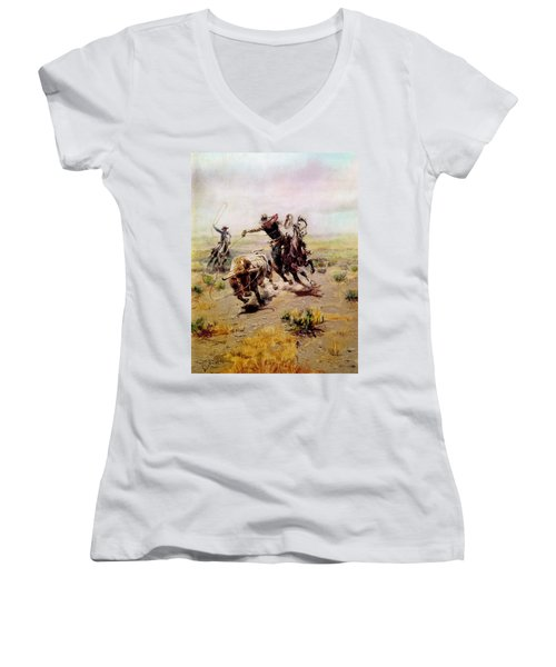 Cowboy Roping A Steer Women's V-Neck