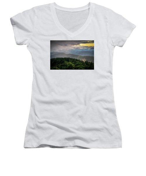 Cowee Mountain Sunset Women's V-Neck T-Shirt (Junior Cut) by Serge Skiba
