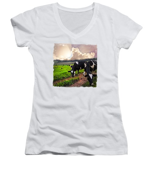 Cows At Sunset Bordered Women's V-Neck T-Shirt (Junior Cut) by Debra and Dave Vanderlaan