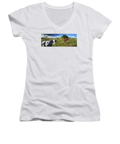 Cows In Field, Ver 3 Women's V-Neck T-Shirt