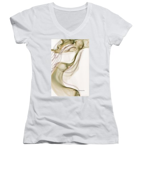 Women's V-Neck T-Shirt (Junior Cut) featuring the photograph Coy Lady In Hat Swirls by Vicki Ferrari