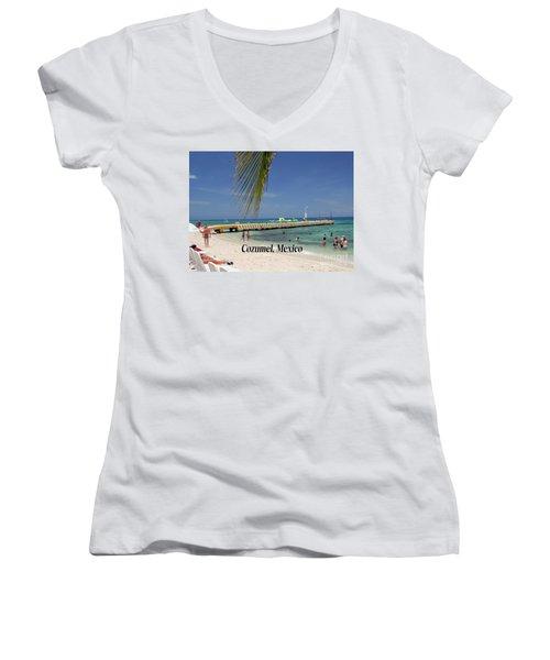 Cozumel Mexico Women's V-Neck T-Shirt (Junior Cut) by Gary Wonning